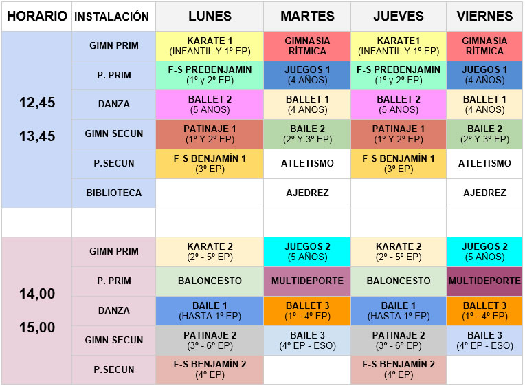 Horario Actividades Club Deportivo 2015 16 Colegio Mayol