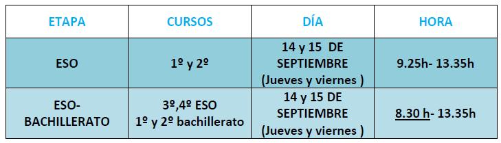 Horario Secundaria 2017-18