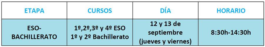 Comienzo curso 2019-20 ESO - BACH